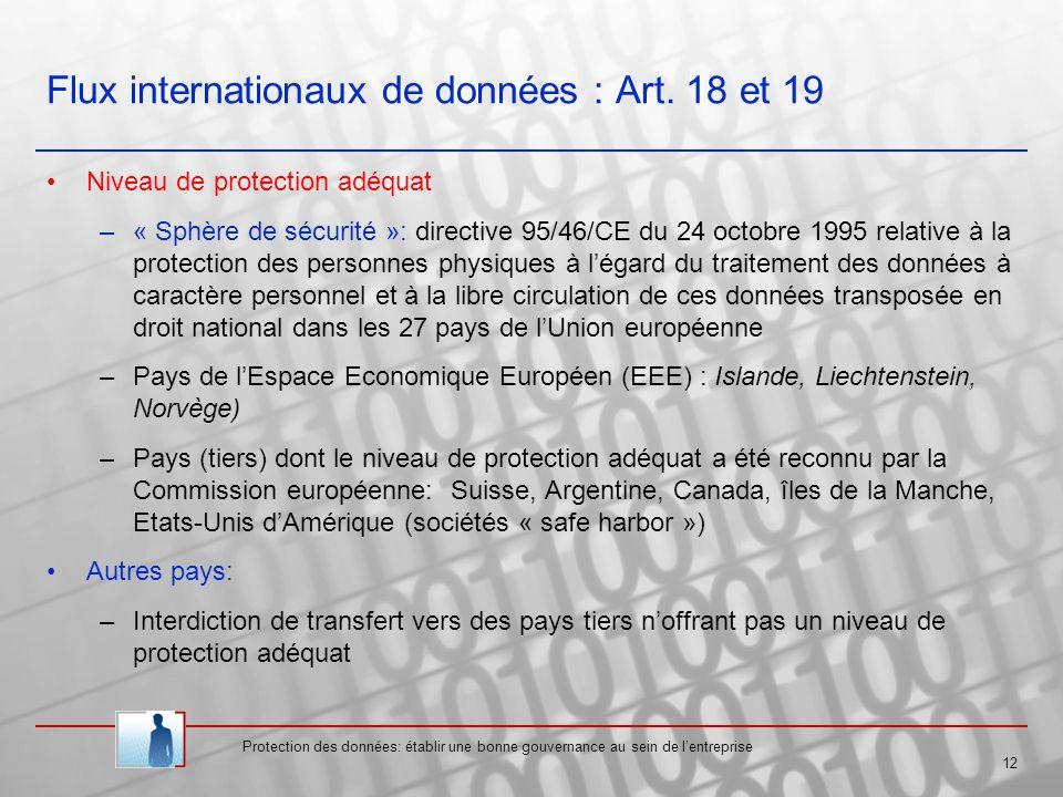 Flux internationaux de données : Art. 18 et 19