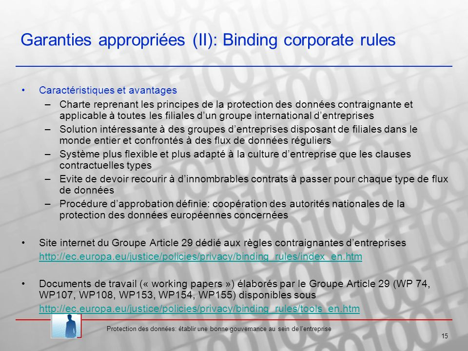 Garanties appropriées (II): Binding corporate rules