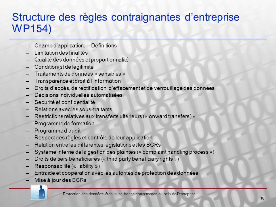 Structure des règles contraignantes d'entreprise WP154)