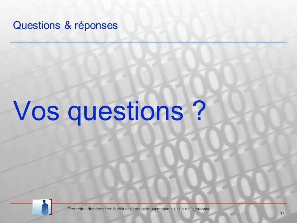 Vos questions Questions & réponses