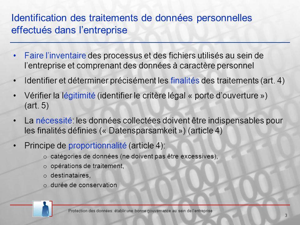 Identification des traitements de données personnelles effectués dans l'entreprise