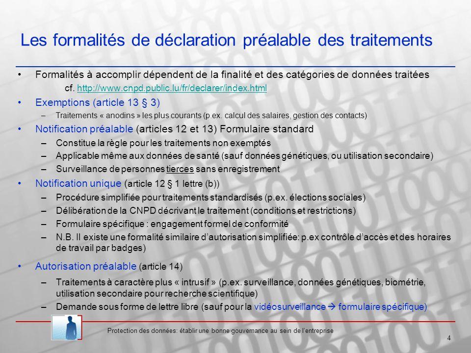 Les formalités de déclaration préalable des traitements