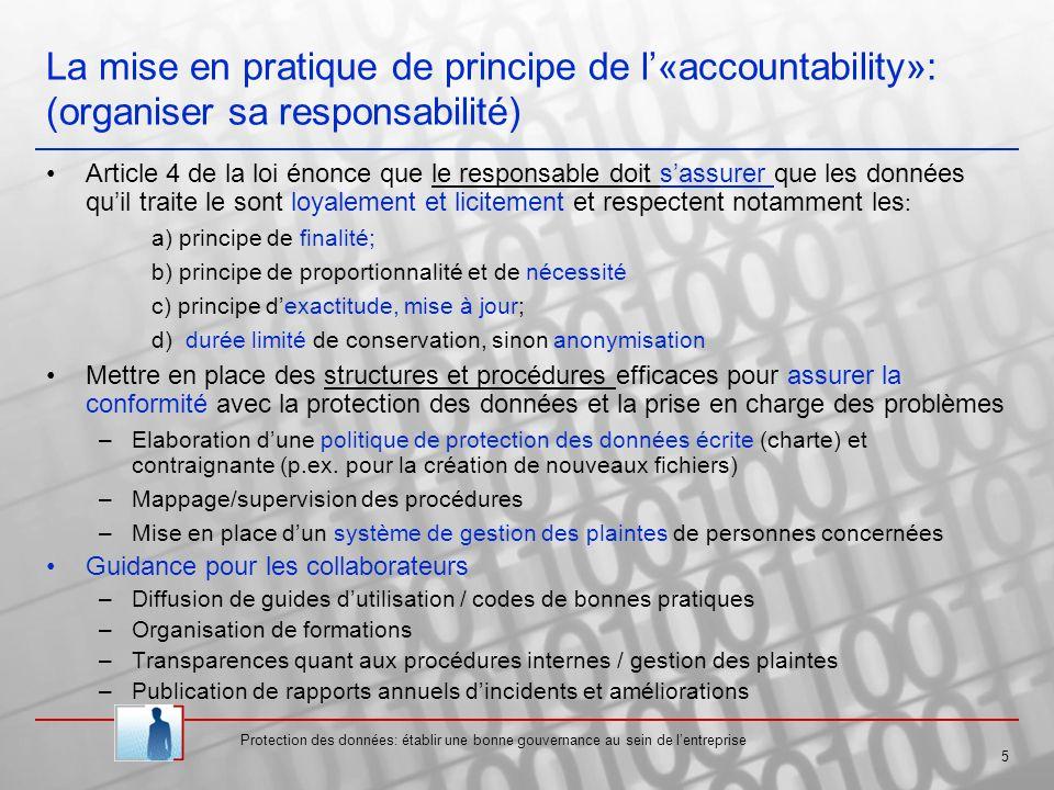 La mise en pratique de principe de l'«accountability»: (organiser sa responsabilité)