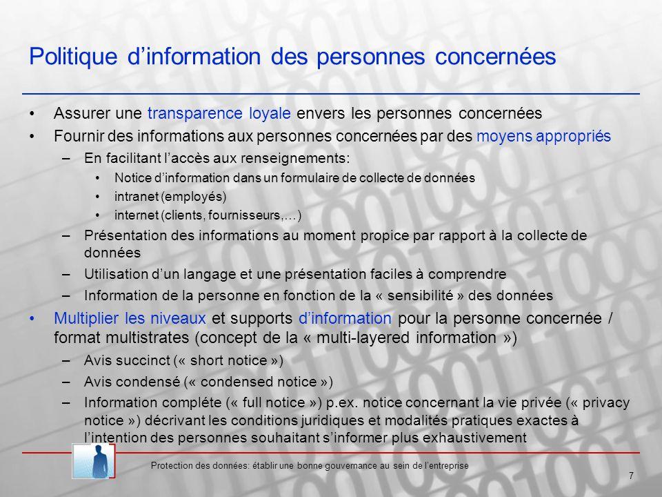 Politique d'information des personnes concernées