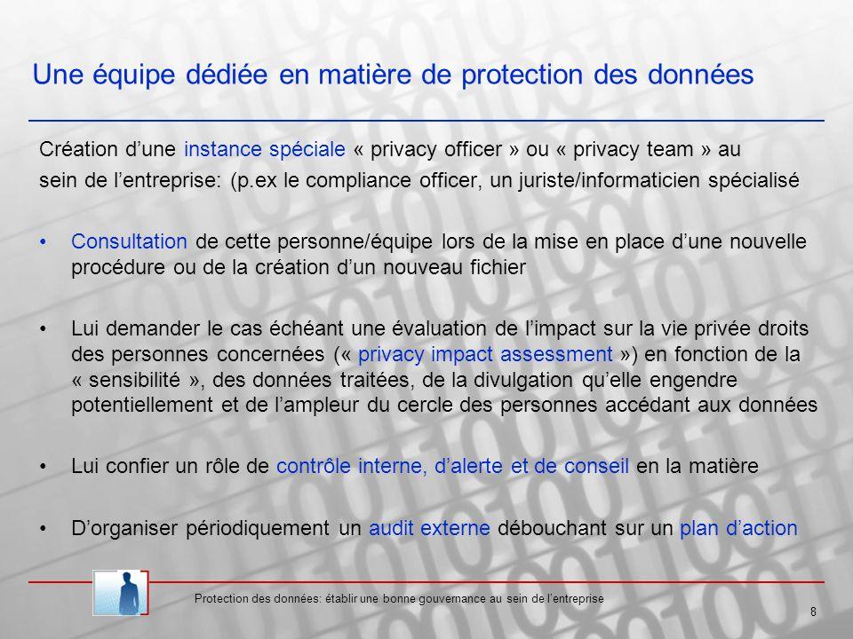 Une équipe dédiée en matière de protection des données