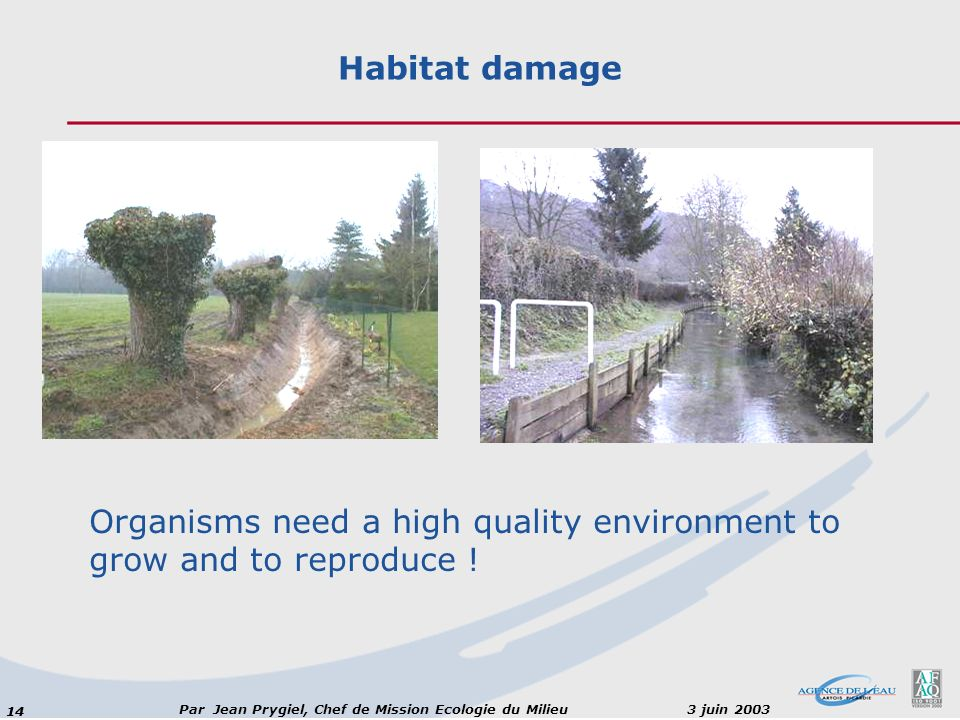 Habitat damage Organisms need a high quality environment to grow and to reproduce !