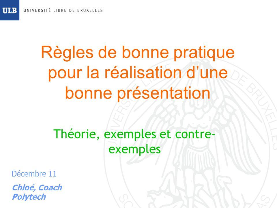 Règles de bonne pratique pour la réalisation d'une bonne présentation