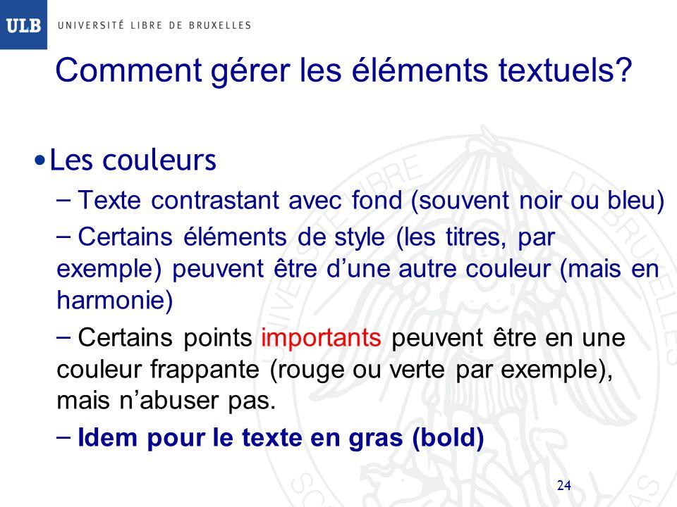 Comment gérer les éléments textuels
