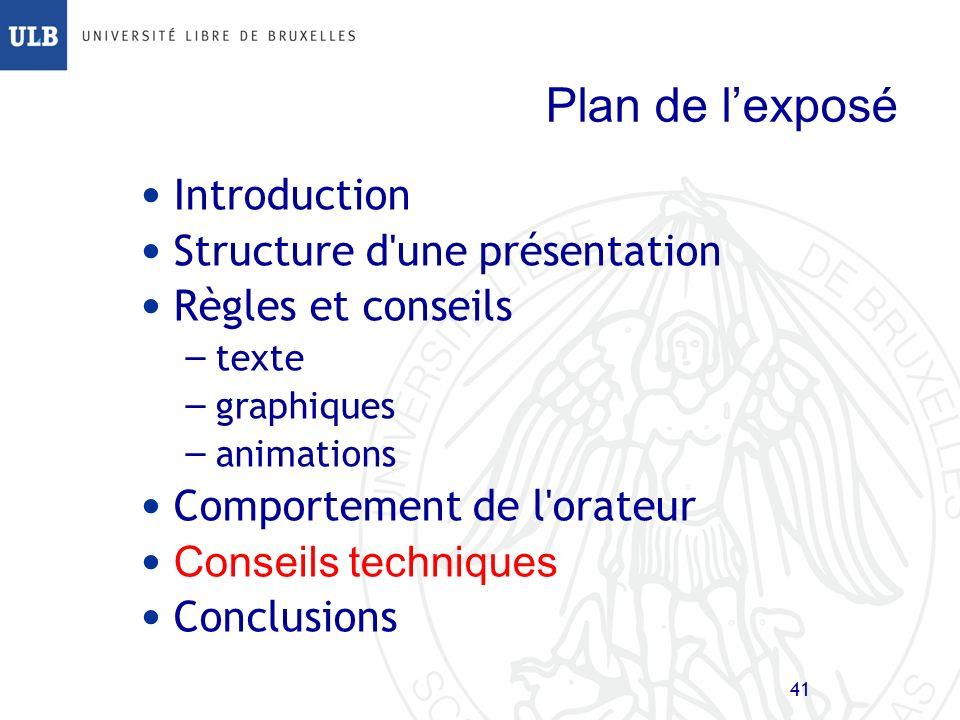 Plan de l'exposé Introduction Structure d une présentation