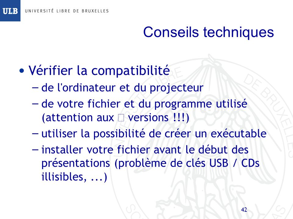 Conseils techniques Vérifier la compatibilité