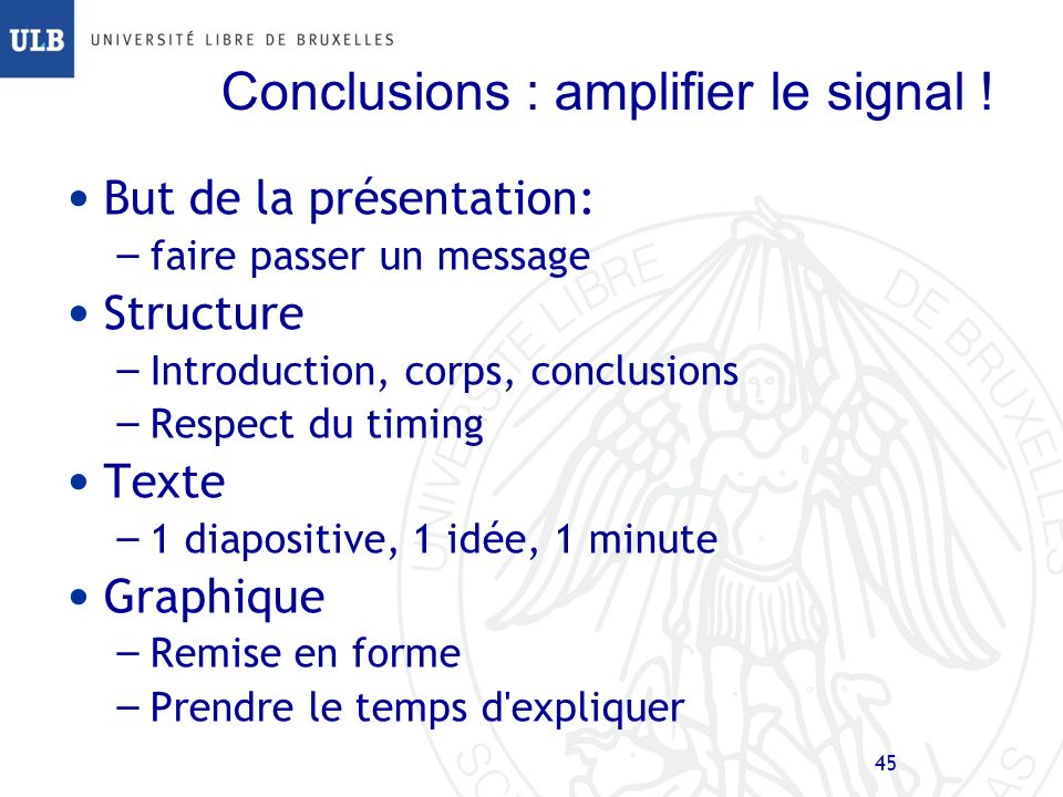 Conclusions : amplifier le signal !