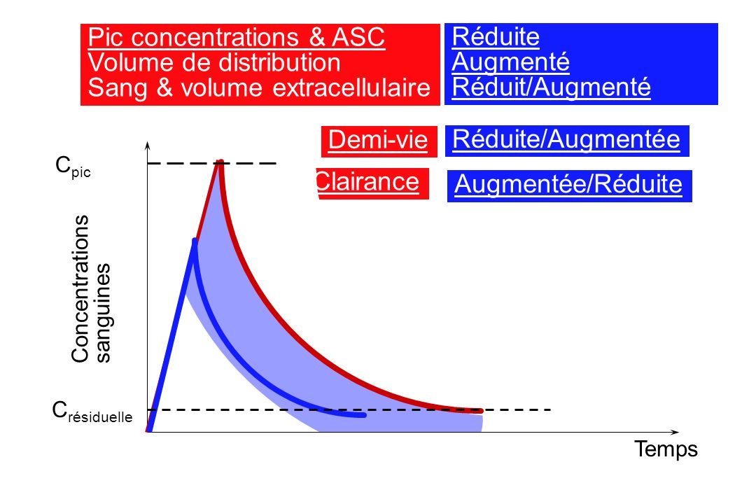 Pic concentrations & ASC Volume de distribution