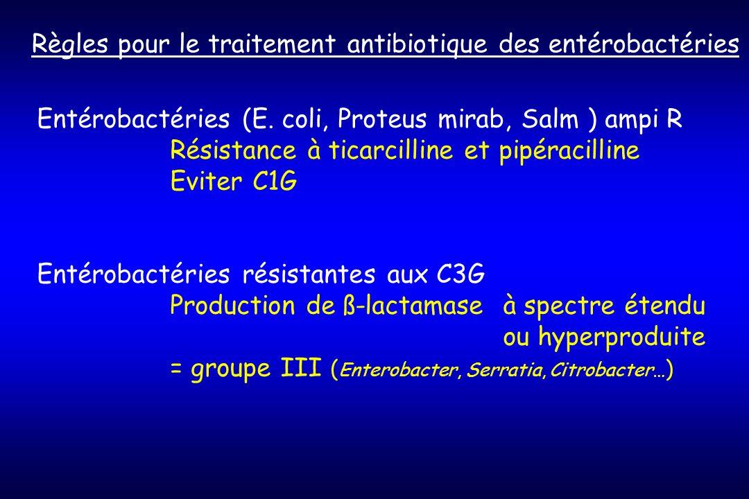 Règles pour le traitement antibiotique des entérobactéries