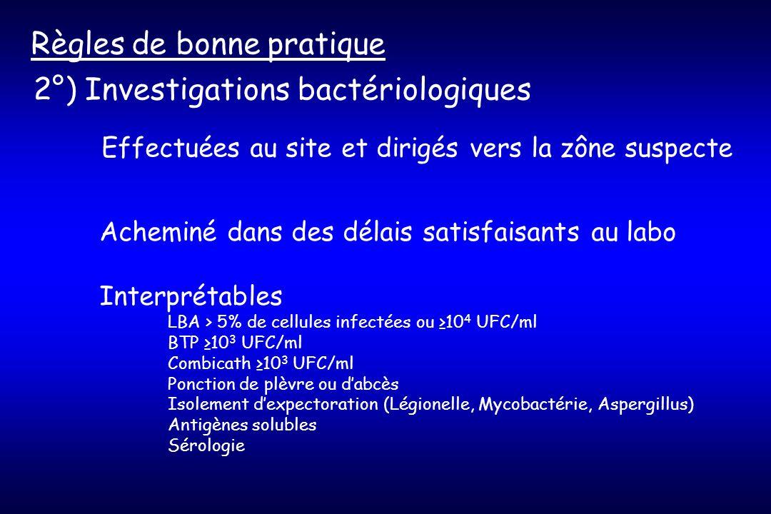 2°) Investigations bactériologiques Règles de bonne pratique