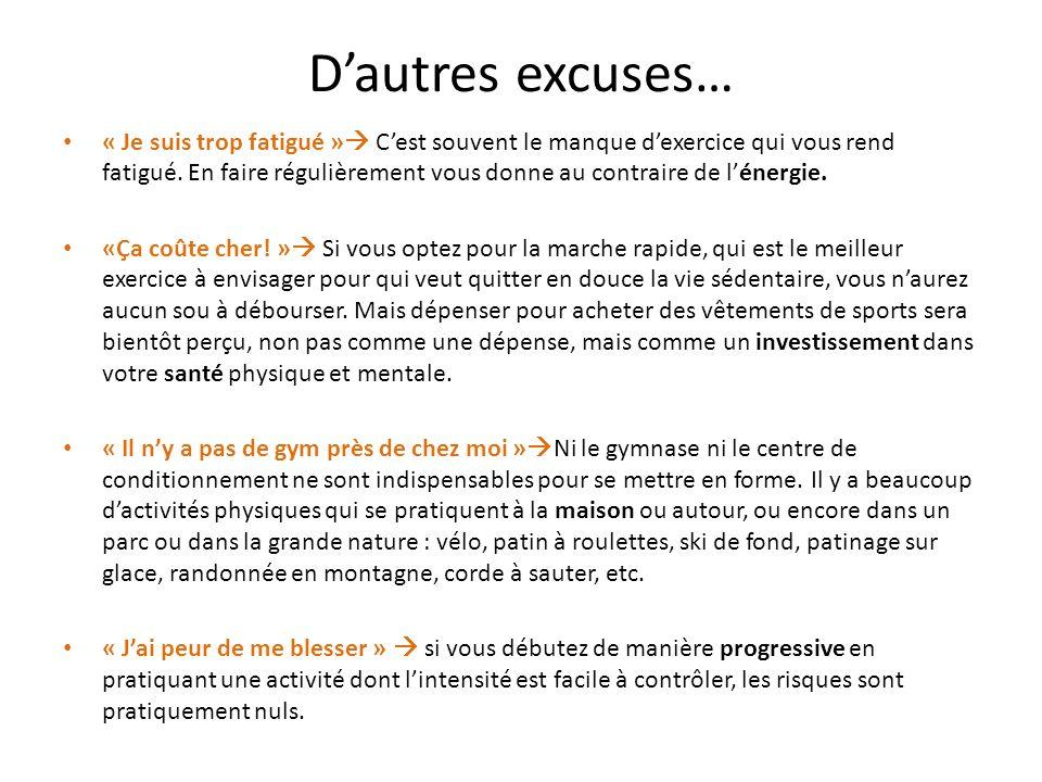 D'autres excuses…