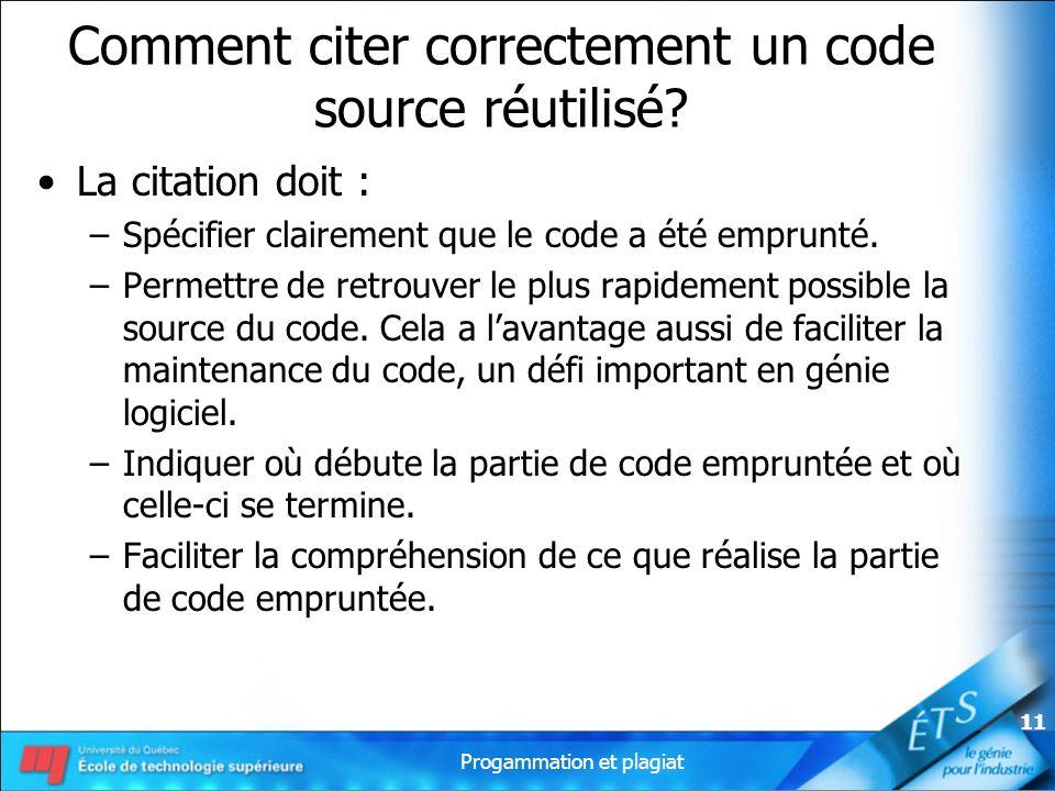 Comment citer correctement un code source réutilisé