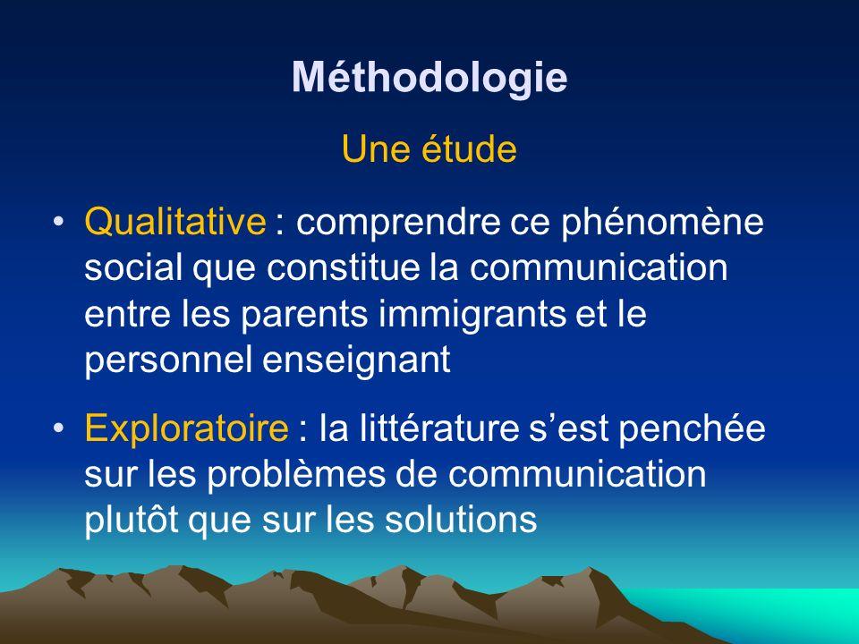 Méthodologie Une étude