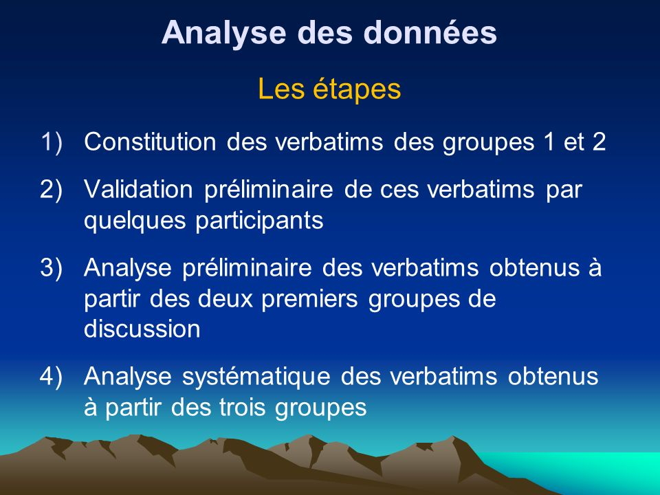 Analyse des données Les étapes