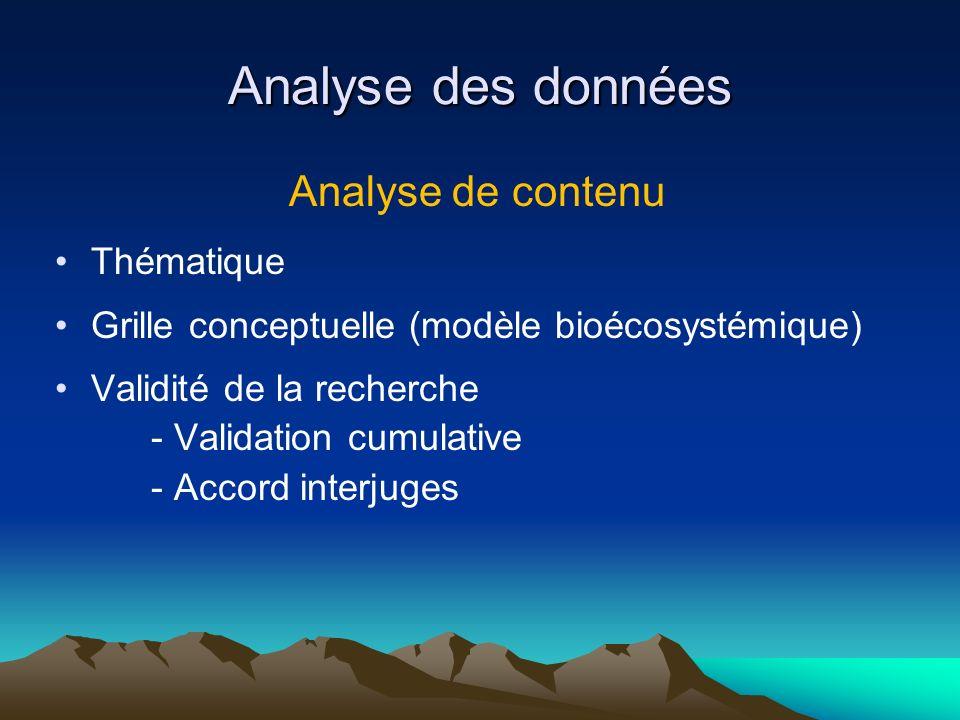 Analyse des données Analyse de contenu Thématique