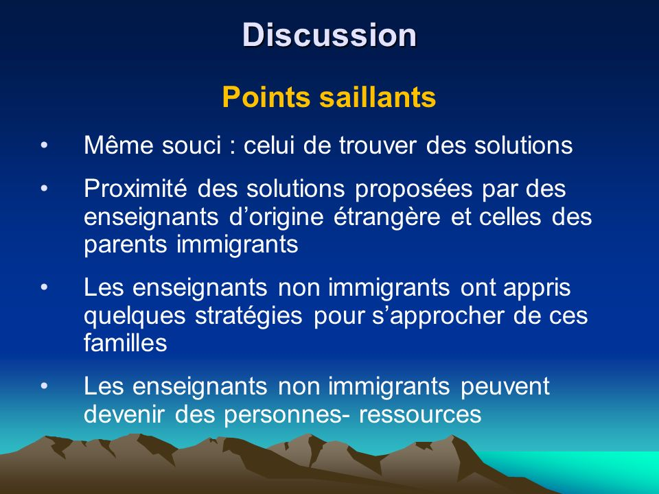 Discussion Points saillants