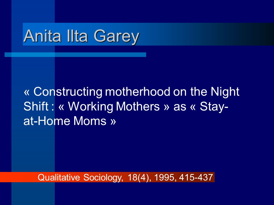 Anita Ilta Garey « Constructing motherhood on the Night Shift : « Working Mothers » as « Stay-at-Home Moms »