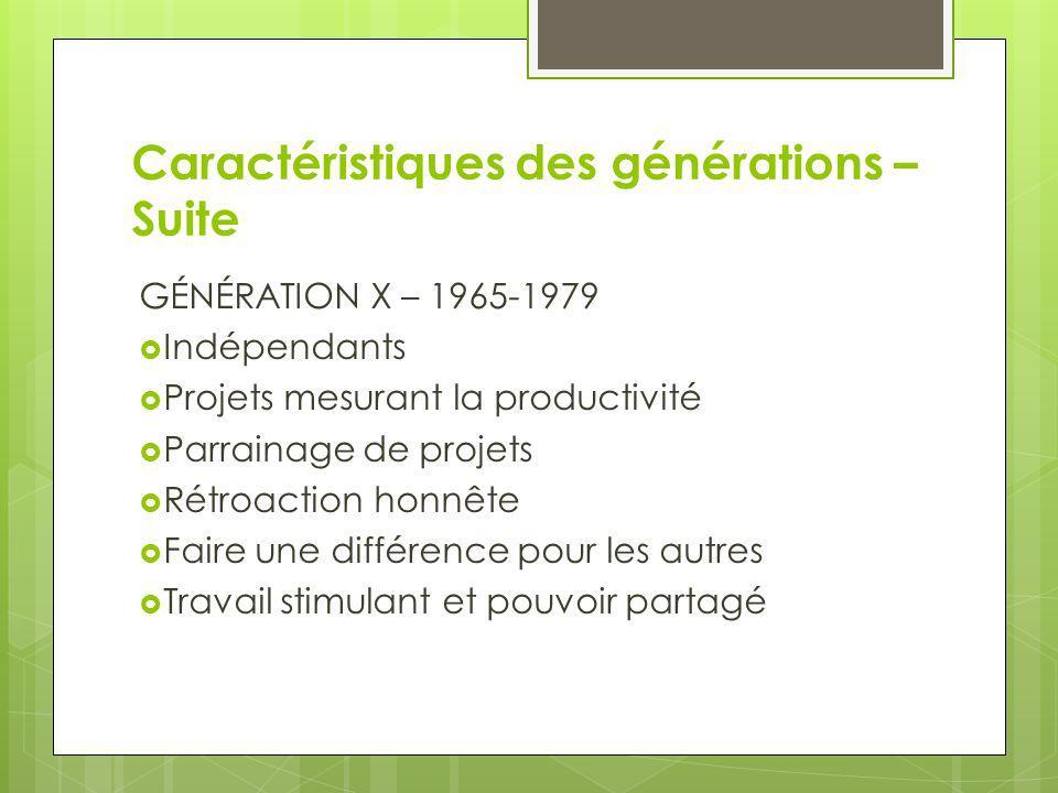 Caractéristiques des générations – Suite