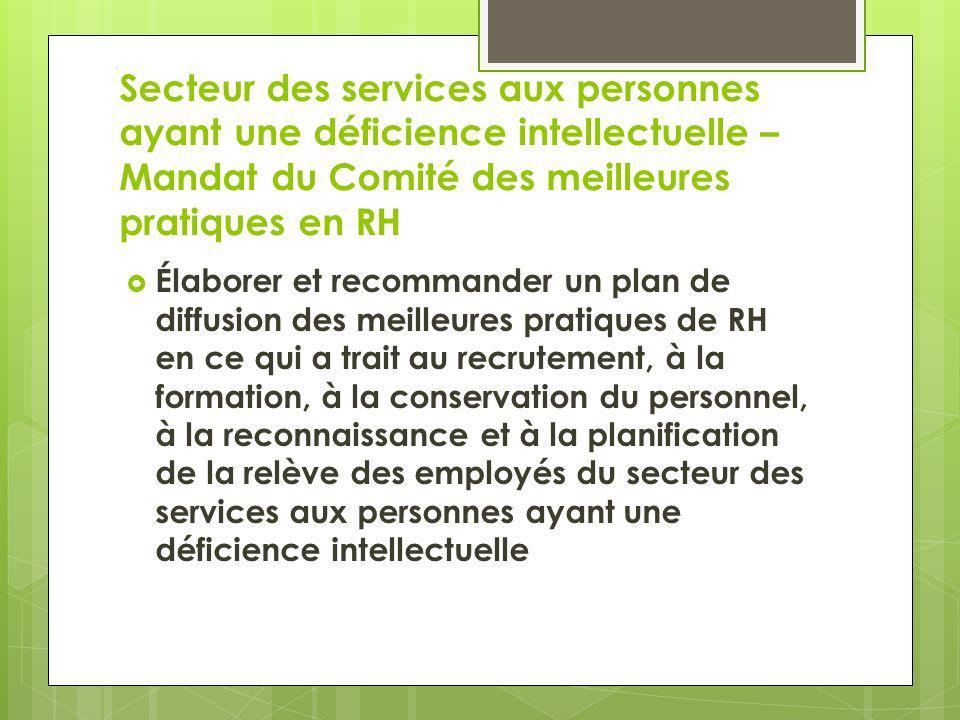 Secteur des services aux personnes ayant une déficience intellectuelle – Mandat du Comité des meilleures pratiques en RH