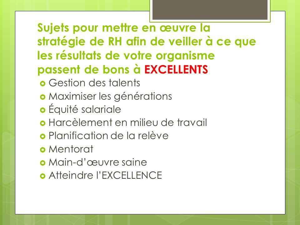Sujets pour mettre en œuvre la stratégie de RH afin de veiller à ce que les résultats de votre organisme passent de bons à EXCELLENTS