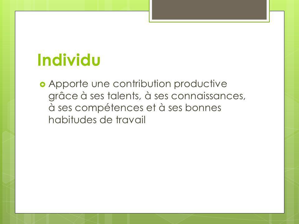 Individu Apporte une contribution productive grâce à ses talents, à ses connaissances, à ses compétences et à ses bonnes habitudes de travail.