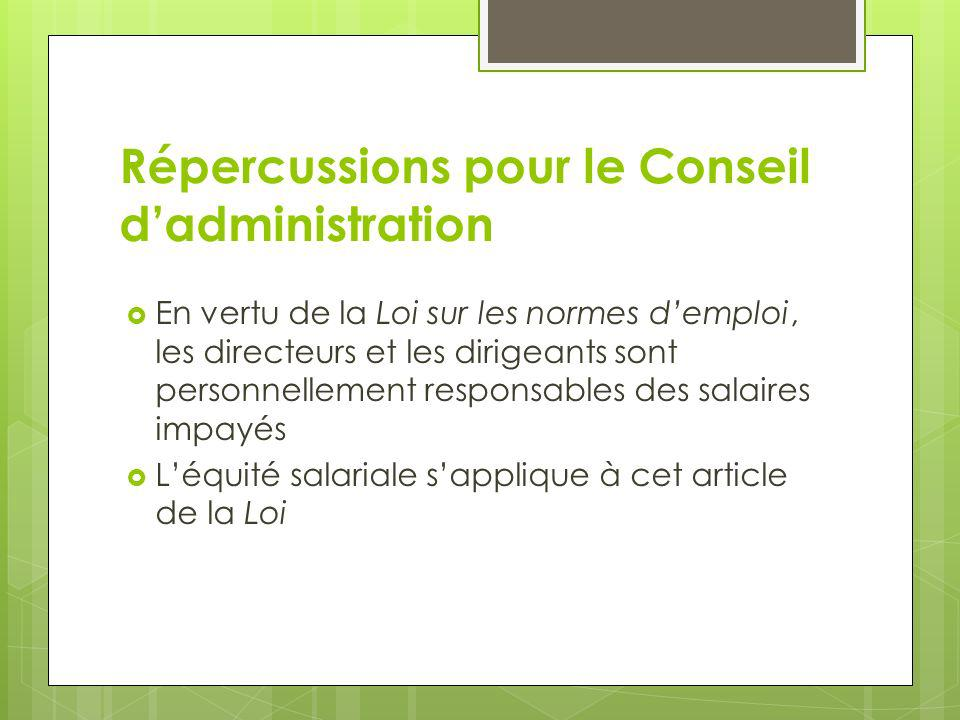 Répercussions pour le Conseil d'administration
