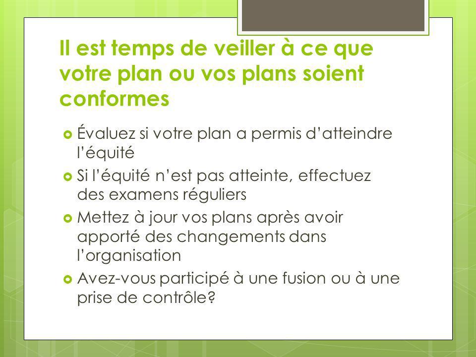 Il est temps de veiller à ce que votre plan ou vos plans soient conformes