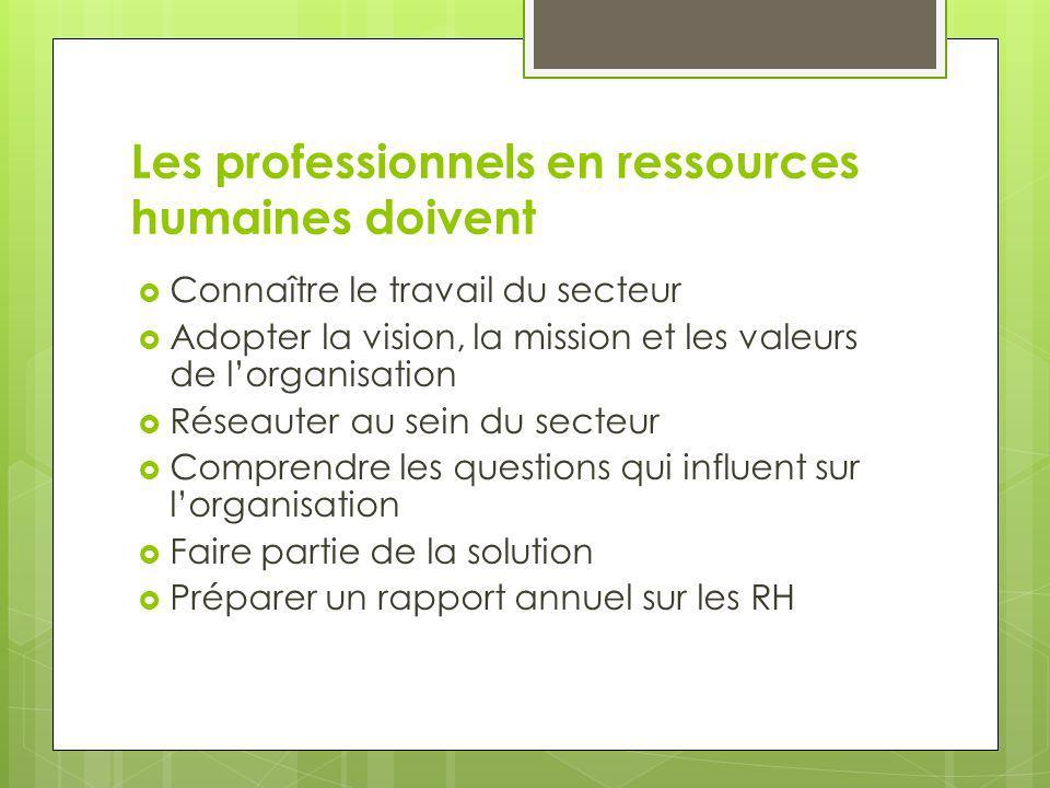 Les professionnels en ressources humaines doivent