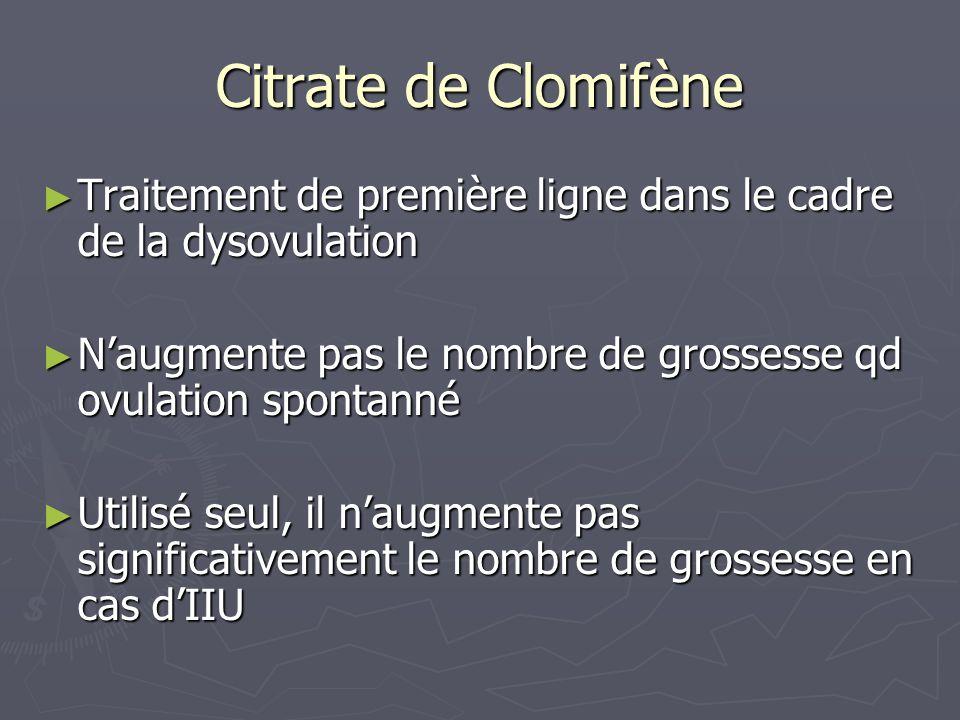 Citrate de Clomifène Traitement de première ligne dans le cadre de la dysovulation. N'augmente pas le nombre de grossesse qd ovulation spontanné.