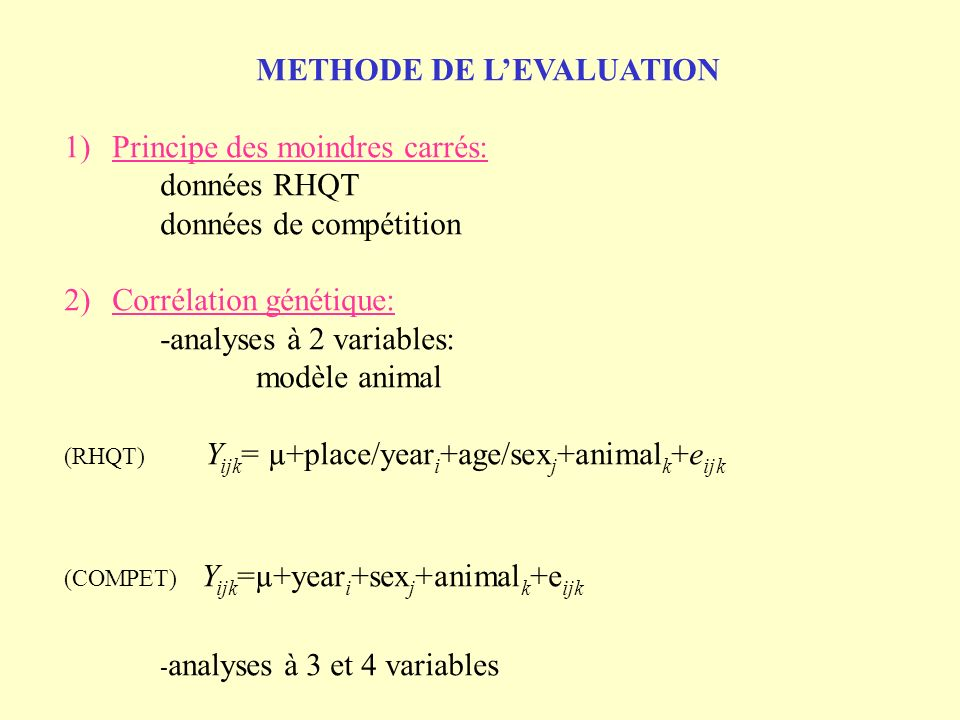 METHODE DE L'EVALUATION Principe des moindres carrés: données RHQT