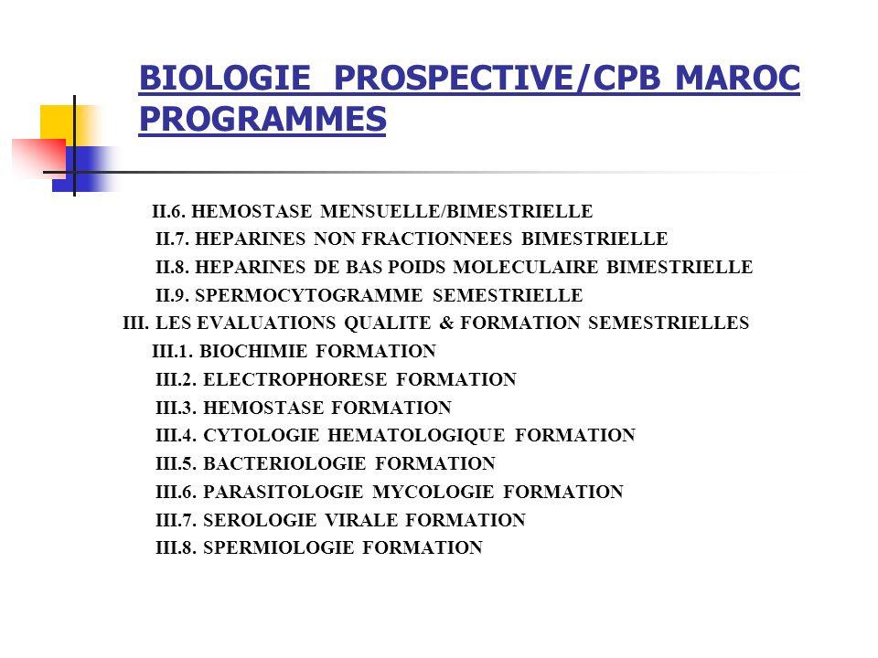 BIOLOGIE PROSPECTIVE/CPB MAROC PROGRAMMES