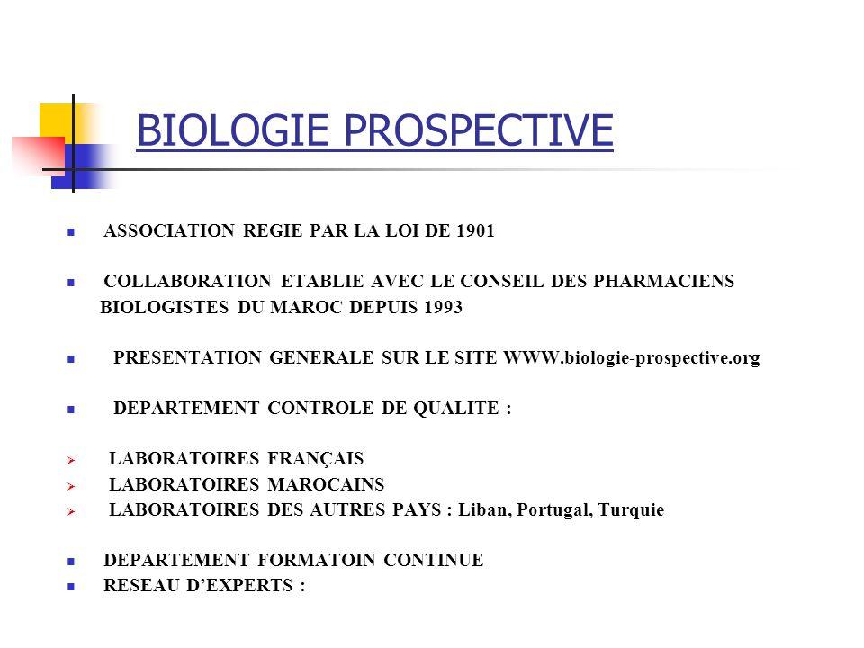 BIOLOGIE PROSPECTIVE ASSOCIATION REGIE PAR LA LOI DE 1901