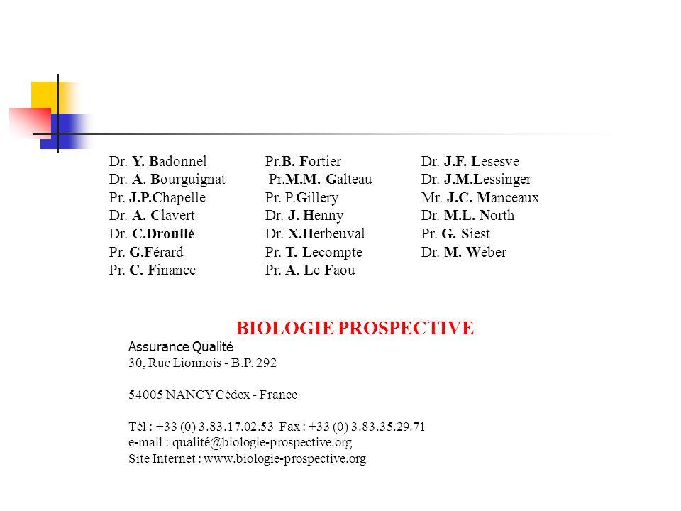 BIOLOGIE PROSPECTIVE Dr. Y. Badonnel Dr. A. Bourguignat