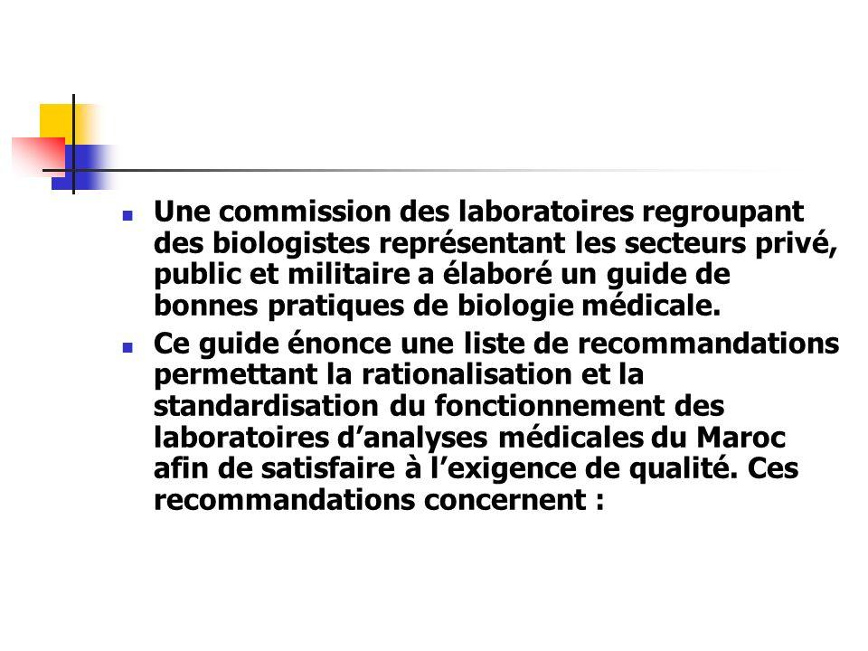 Une commission des laboratoires regroupant des biologistes représentant les secteurs privé, public et militaire a élaboré un guide de bonnes pratiques de biologie médicale.