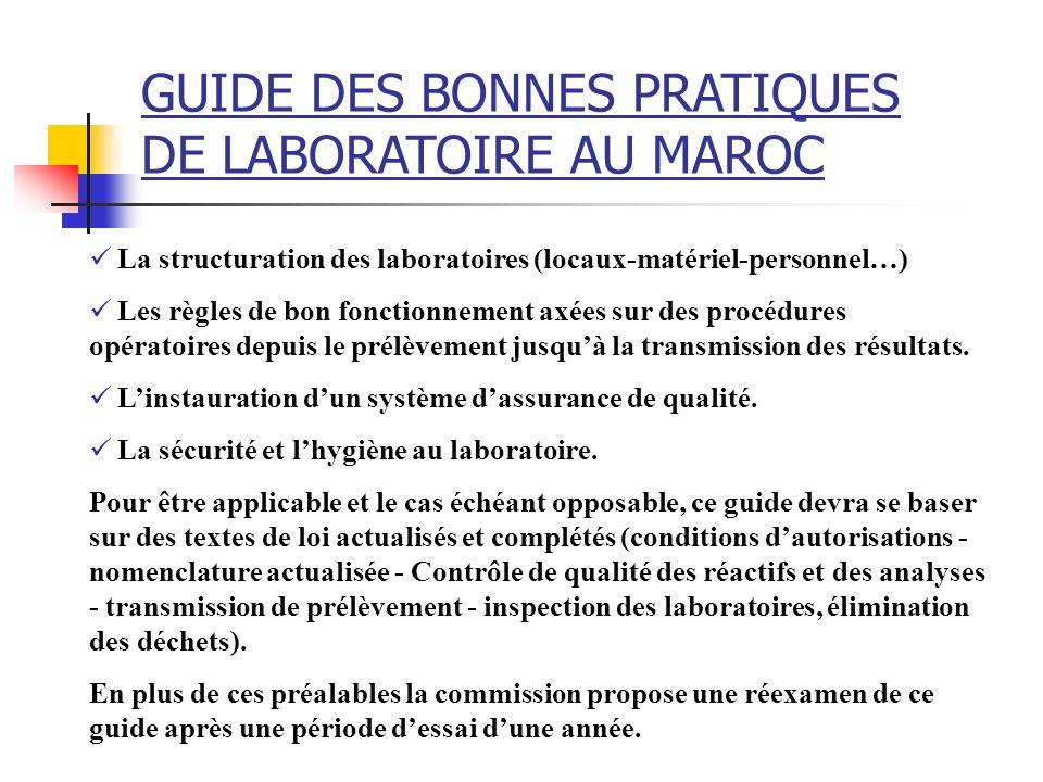 GUIDE DES BONNES PRATIQUES DE LABORATOIRE AU MAROC