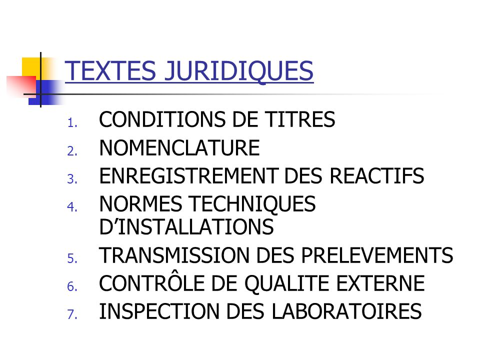 TEXTES JURIDIQUES CONDITIONS DE TITRES NOMENCLATURE