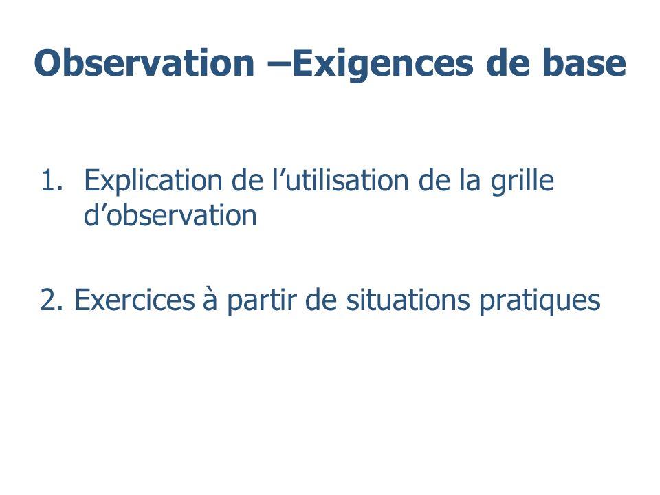 Observation –Exigences de base