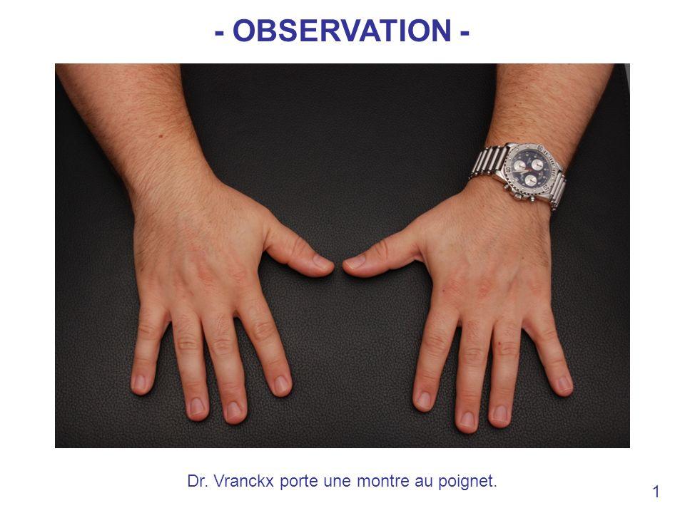 Dr. Vranckx porte une montre au poignet.