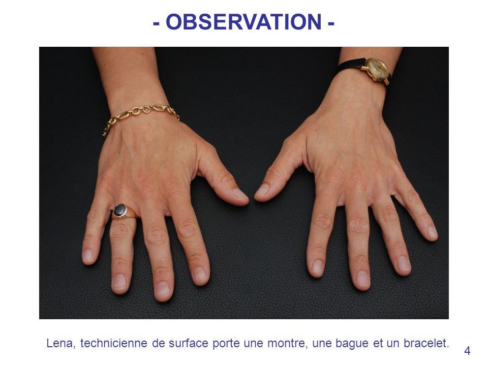 - OBSERVATION - Lena, technicienne de surface porte une montre, une bague et un bracelet. 4