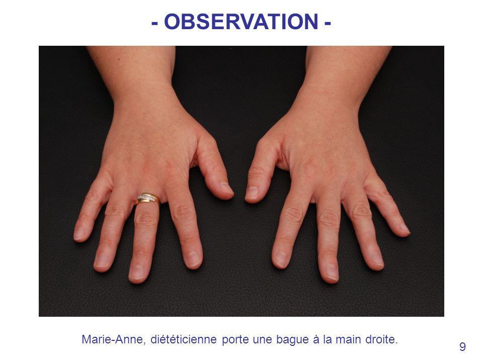 Marie-Anne, diététicienne porte une bague à la main droite.