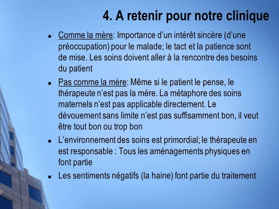 4. A retenir pour notre clinique