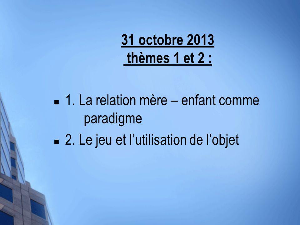 31 octobre 2013 thèmes 1 et 2 : 1. La relation mère – enfant comme paradigme.