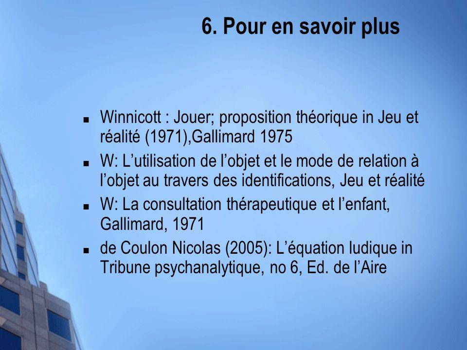 6. Pour en savoir plus Winnicott : Jouer; proposition théorique in Jeu et réalité (1971),Gallimard 1975.