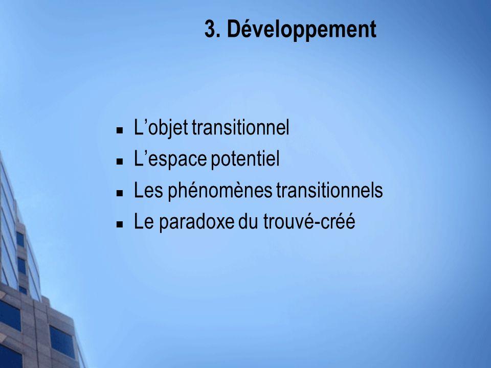 3. Développement L'objet transitionnel L'espace potentiel