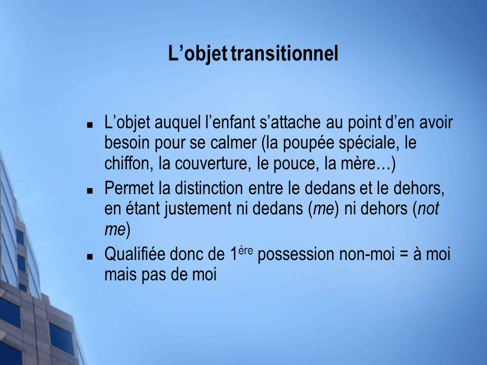 L'objet transitionnel