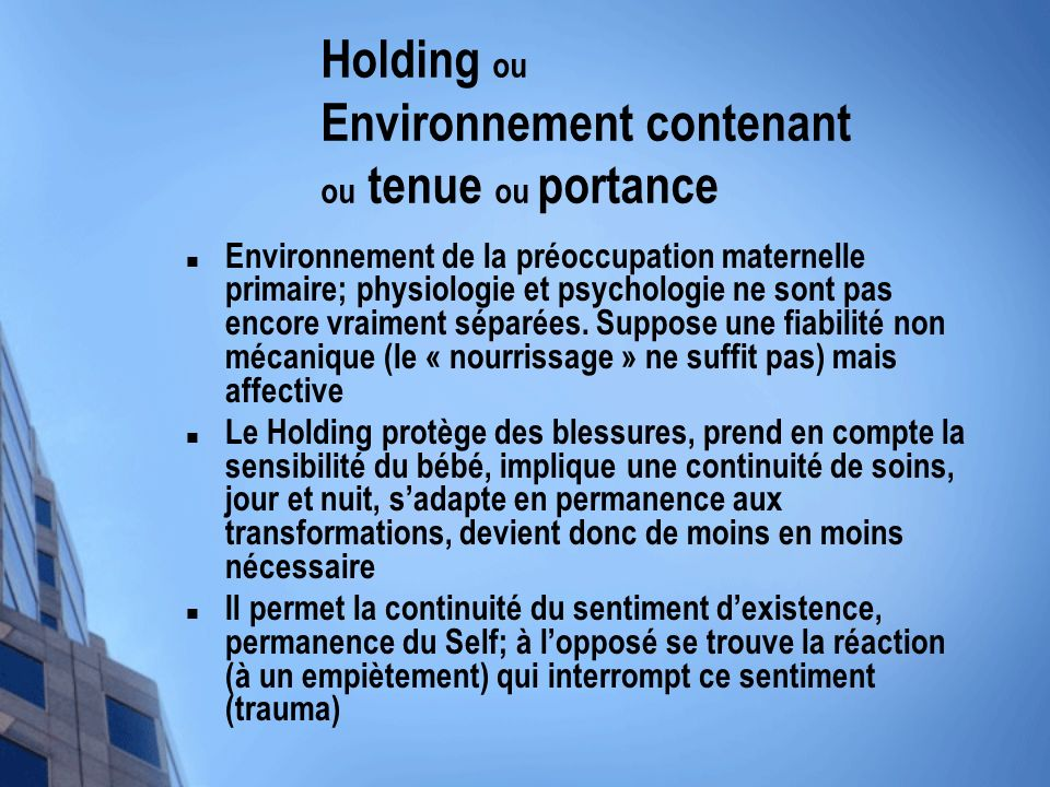 Holding ou Environnement contenant ou tenue ou portance